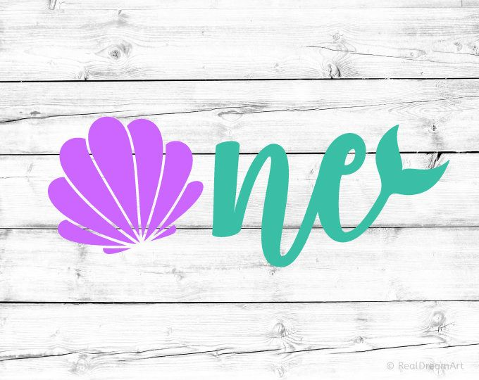 Mermaid First Birthday Svg Seashell One Svg 1st Birthday Baby Girl