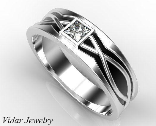 Mens Wedding Band Princess Cut Diamond Wedding Ring For Mens,Two Tone Gold Wedding Ring,Black Gold Wedding Band,Unique Wedding Ring,14K by Vidarjewelry on Etsy