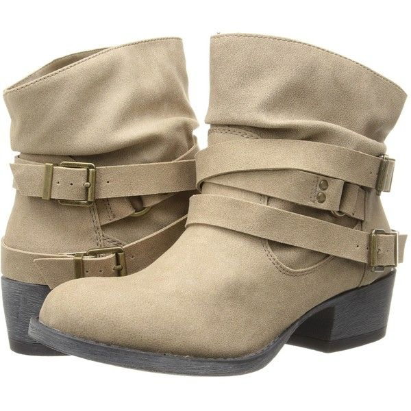 MIA Ernest Women's Shoes ($12) ❤ liked on Polyvore featuring shoes, boots, ankle booties, ankle boot, tan, tan booties, bootie boots, slouch boots, tan ankle booties and buckle ankle boots
