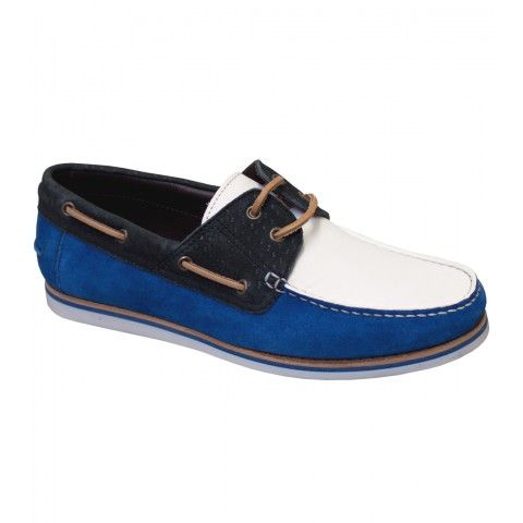 #Lanvin White/Blue Suede Deck Shoes