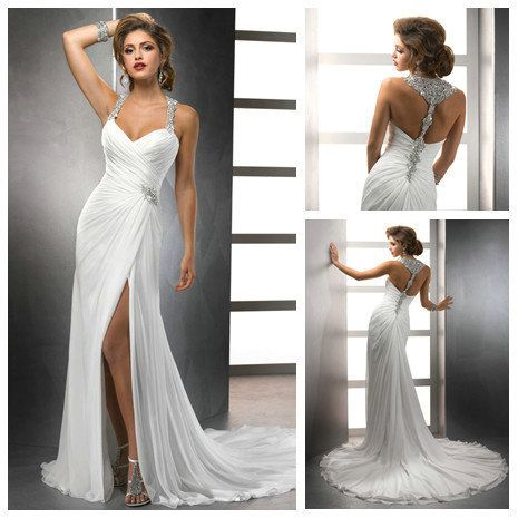 Aliexpress.com : Buy White Chiffon Front Silt Sweetheart Casual Style Backless Halter Top Beach Wedding Dresses from Reliable Halter Top Beach Wedding Dresses suppliers on Love Forever Wedding Dress Factory  $179.99
