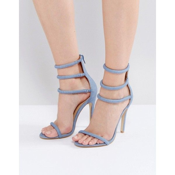 Public Desire Aisha Denim Strappy Heeled Sandals ($45) ❤ liked on Polyvore featuring shoes, sandals, blue, strappy gladiator sandals, blue sandals, pom pom sandals, strap heel sandals and high heel gladiator sandals