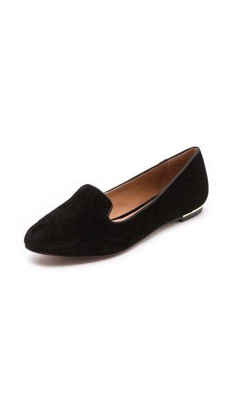 A black velvet loafer - classic.  Zahara Velvet Loafers by Rachel Zoe.