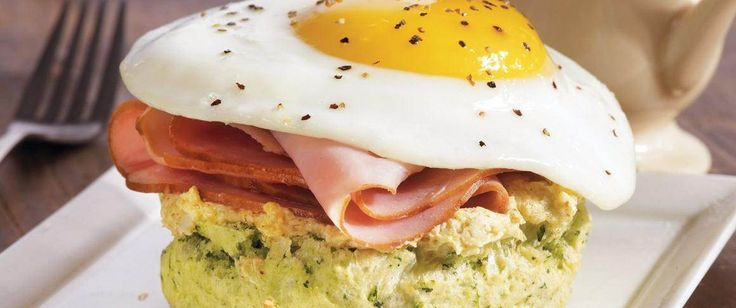 Original Bisquick® mix biscuits make the base for these hearty open-faced sandwiches topped with ham and fried eggs – perfect for St. Patrick's Day breakfast.