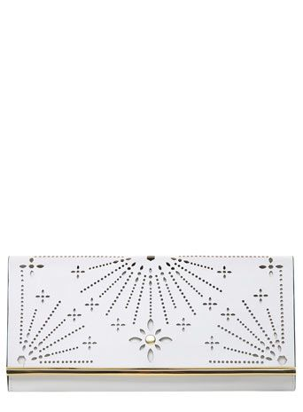 White perforated clutch 15