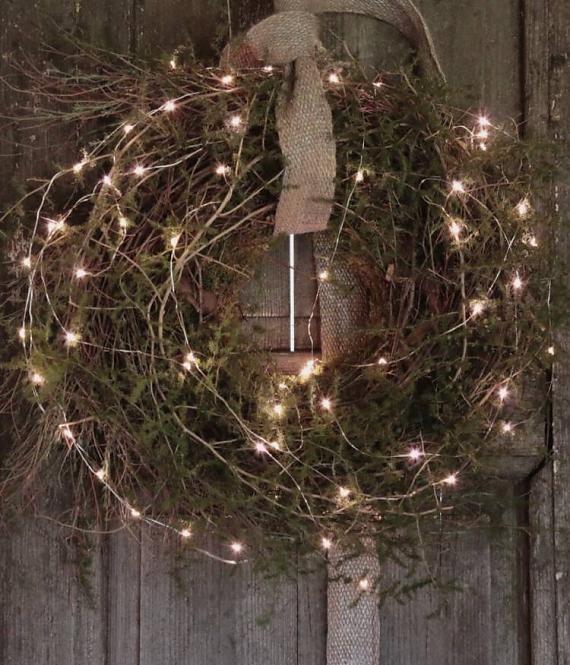 Stoere Krans Prachtig voor de Kerst incl lampjes