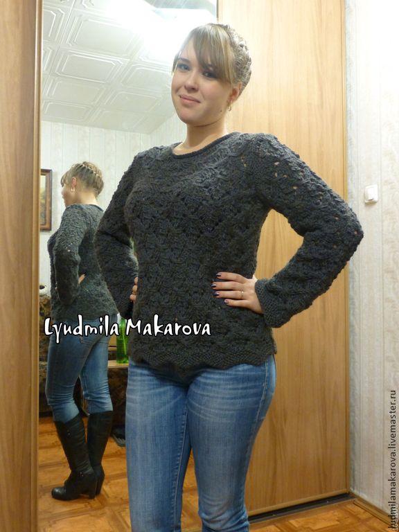 """Купить Пуловер """"Фантазийный"""" - темно-серый, однотонный, 100% шерсть, альпака, пуловер, пуловер вязаный"""