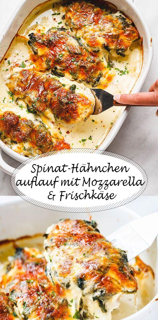 Cremig und lecker: Spinat-Hähnchenauflauf mit Mozzarella und Frischkäse