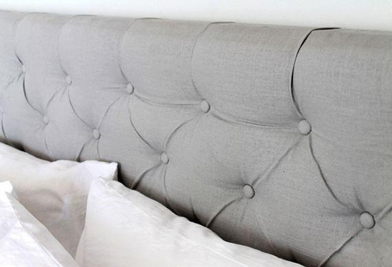 modernes schlafzimmer gestalten mit selbstgemachtem bett kopfteil gepolstert