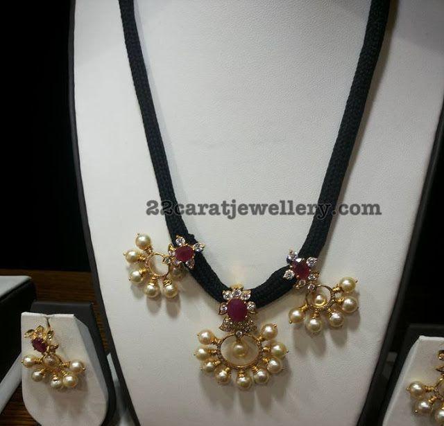Pearls Adorned Black Cord Set - Jewellery Designs