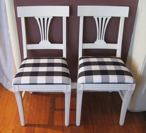 Black And White Plaid Chairs With Fabric Cushion By