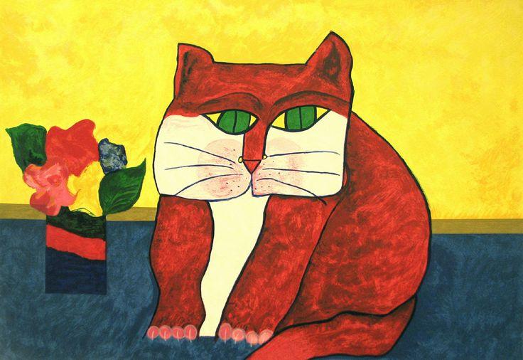 Gato Vermelho -  Red Cat   Seriograph   Aldemir Martins