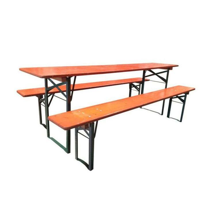 Vintage European Orange Wood Picnic Tables/Benches - $800 Est. Retail - $450 on Chairish.com