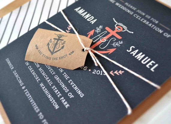 Nautical Anchor Wedding Invitations - I looove anchors!