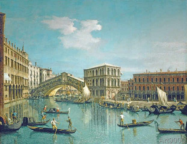 Giovanni Antonio Canaletto - Rialto Bridge in Venice