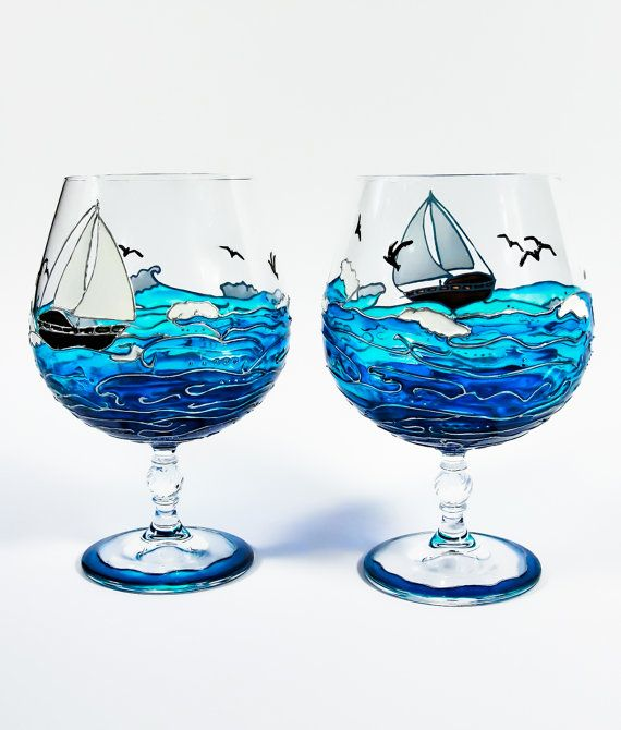 Sea Hand Painted Wine Glasses with Ocean Ship Blue by Vitraaze, $40.00