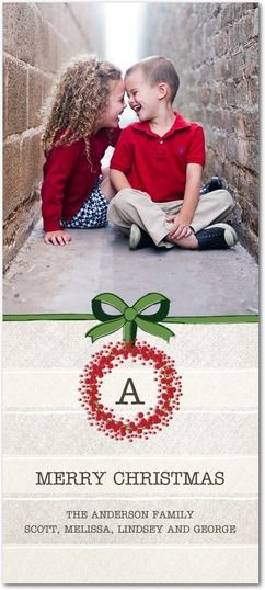 Encircled Initial - Cheap Christmas Cards in Emerald | Design Collective