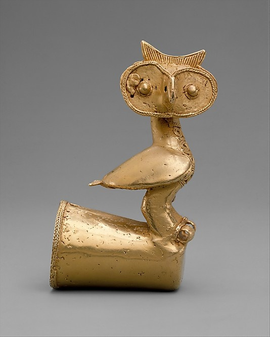 Owl Finial    Date:      5th–10th century  Geography:      Colombia  Culture:      Zenu or Sinu  Medium:      Gold  Dimensions:      H. 4 3/4 x W. 2 5/8 x D. 1 3/4 in. (12.1 x 6.7 x 4.5 cm)  Classification:      Metal-Ornaments