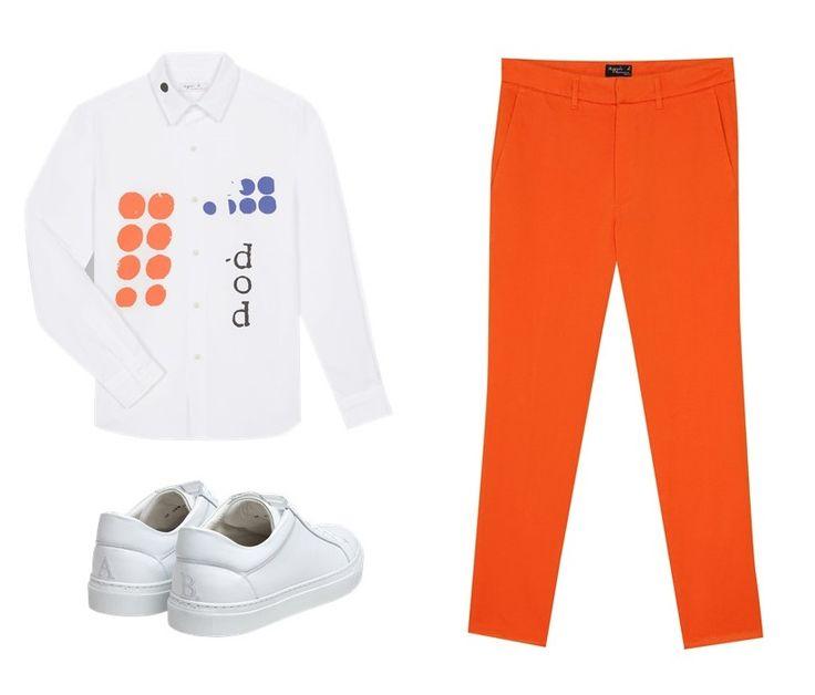 le pantalon jamy orange et la chemise Tom Fury pourront être portés avec les sneakers new come agnès b
