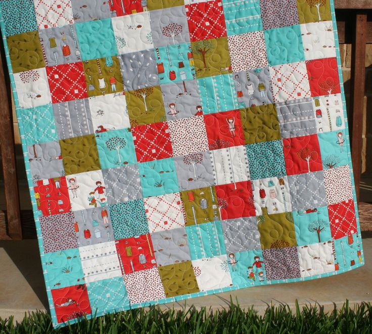 Baby quilt little apples green red boy blanket nursery for Boy quilt fabric