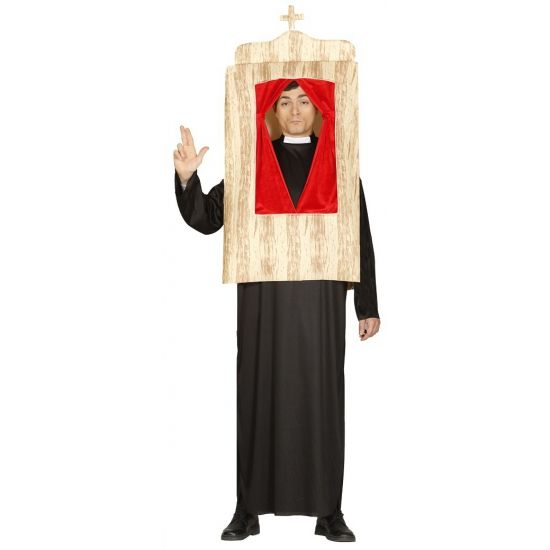 Pastoor met biechtstoel kostuum. Dit grappige kostuum bestaat uit een tuniek en een biechtstoel. Een ideaal kostuum om op verkleedfeest achter alle geheimen te komen! One size model(L/XL).