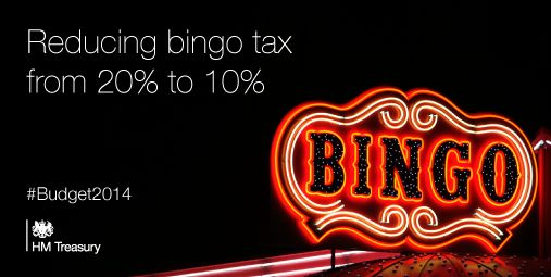 #Budget2014 announces that Bingo tax will be halved from 20% to 10%.