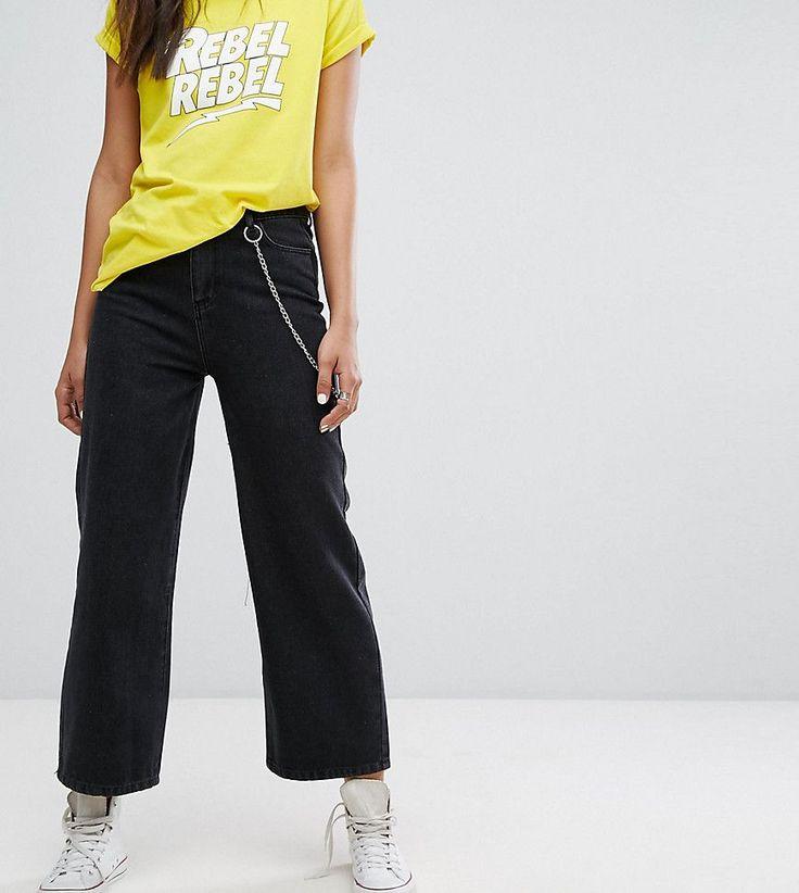 Daisy Street Tall Denim Wide Leg Jeans With Chain - Black