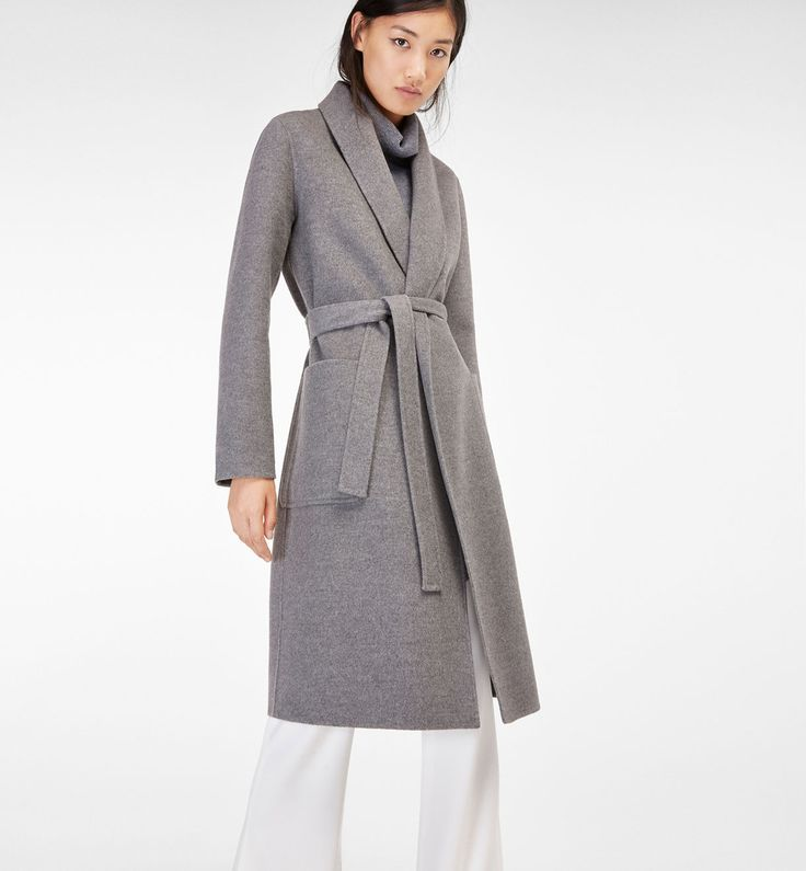 Grey overcoat with belt by Massimo Dutti