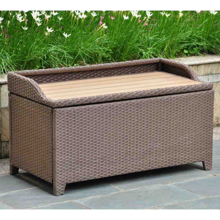 Resin Wicker 60 Gallon Storage Deck Box With Faux Wood Top   The  International Caravan Barcelona 40 In. Resin Wicker Outdoor Trunk/Coffee  Table With Faux ...