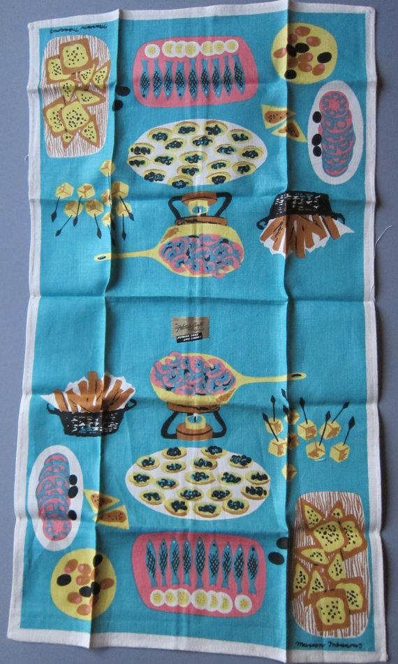 Knock Out Vintage Hors Douevres Tea Dish Kitchen Towel By Gramily, $52.00