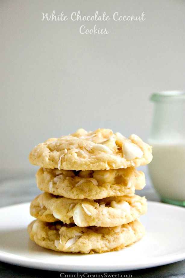 White Chocolate Coconut Cookies - soft sugar cookies packed with white chocolate and coconut. They melt in your mouth!