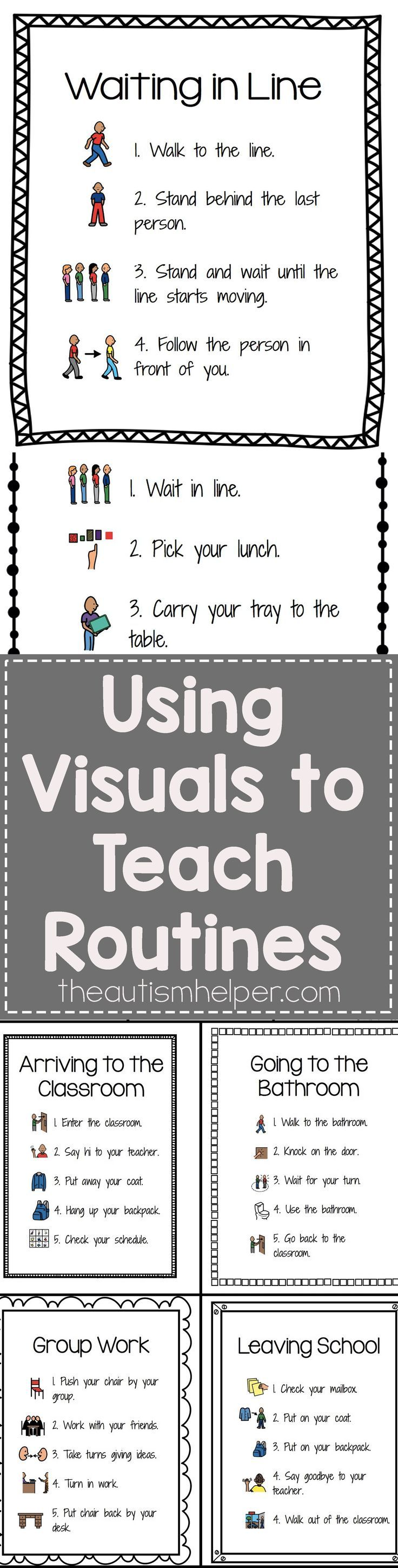 Check out our Visuals for Common Classroom Routines - It�s editable (!!!) & includes 25 pre-made sets of visual step by step routines! From theautismhelper.com #theautismhelper