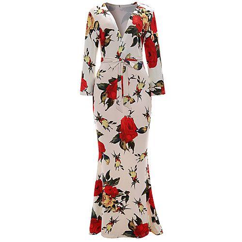 Women's Club Sexy Sheath Trumpet/Mermaid Dress,Floral Deep V Maxi 3/4 Length Sleeves Cotton Polyester Spandex Summer High Rise 2018 - $16.99