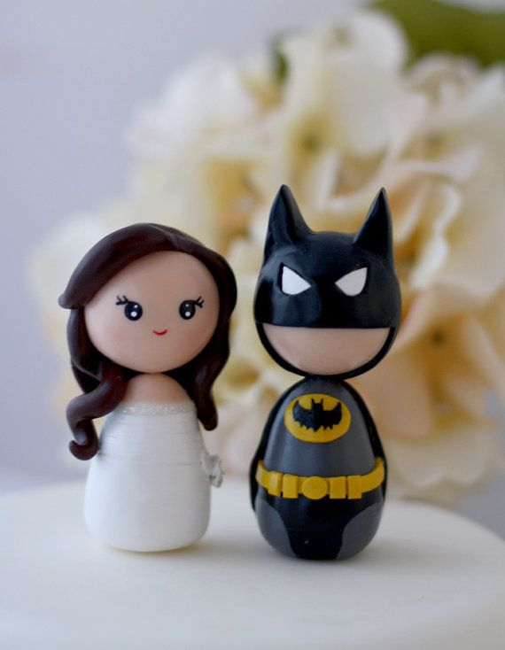 Custom Wedding Batman cake toppers by Chikipita on Etsy, $70.00 THIS IS SOOO CUTE ! they make any superhero you want :D