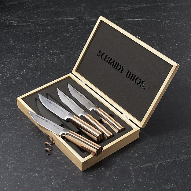 Schmidt Brothers ® Farmhouse Blend Jumbo Steak Knives Set of Four | Crate and…