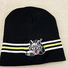 Chicago Wolves Minor Hockey Knit Cap Beanie Black Embroidered Hat One Size
