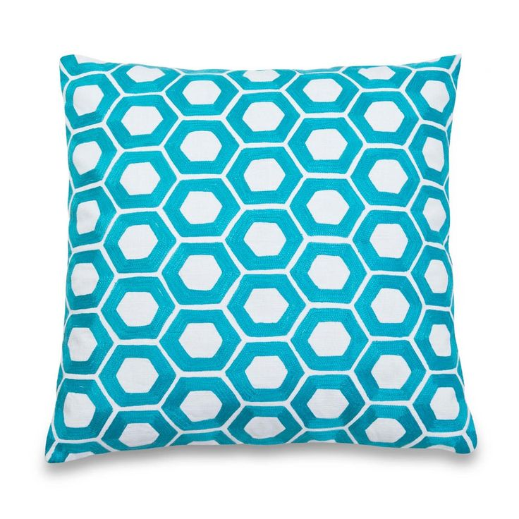 Blue Hexagon Embroidered Cushion 50x50 | Me & My Trend