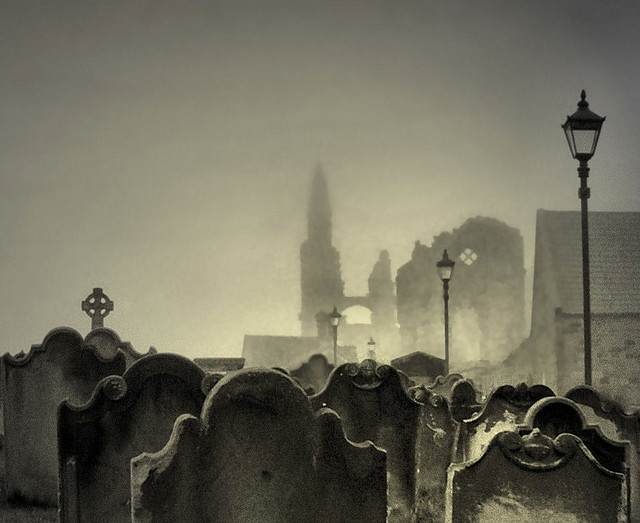 A view of Whitby Abbey in North Yorkshire, through the graveyard of St. Mary's Church.