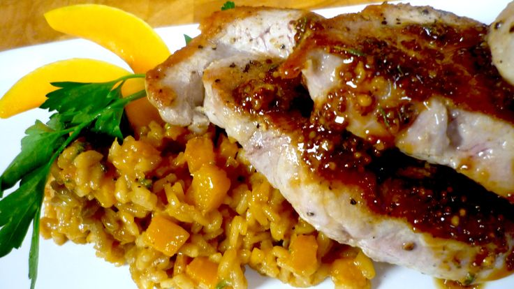 Nothing better than the ultimate combinations of Pork Chops and Butternut Squash. Learn how to make risotto and a mustard sauce for pork chops.