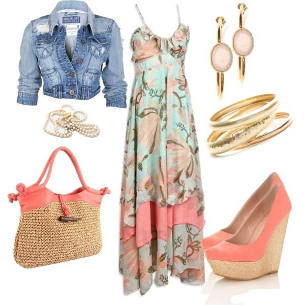 Love this! Printed maxi dress, coral closed toed wedges, coral and rope bag, cropped denim jacket