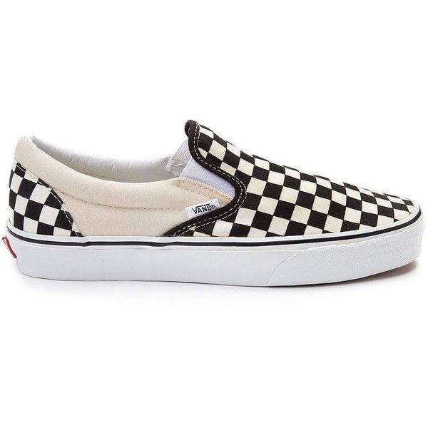 Vans Slip On Chex Skate Shoe (£39) ❤ liked on Polyvore featuring shoes, sneakers, rubber sole shoes, slip on shoes, vans shoes, slip on trainers and slip-on shoes