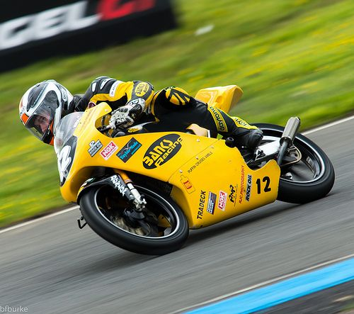 Edward Rendell on the canary yellow of the Banks Racing Honda.