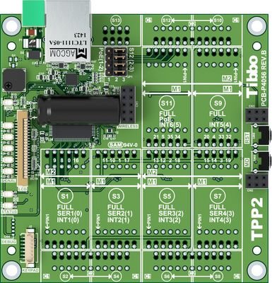 Size 2 Tibbo Project PCB, Gen 2 is a Tibbo BASIC/C-programmable board with Ethernet, as well as optional Wi-Fi* and GPRS** connectivity. The board has four UARTs. Ideal choice for data collection and autoID projects, as well as factory, shop, data center, hotel, and #homesafety, #security, and #automation applications.