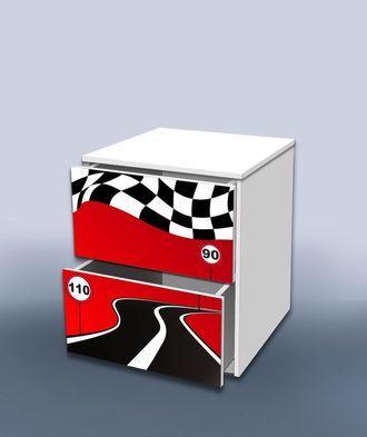 Тумба с ящиком гонка красный 2
