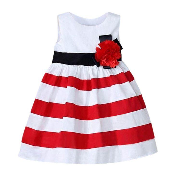 JD-ROPALIA шикарный малыш ребенок девушки широкой полосой платье без рукавов цветочные высокой талией юбка Пляжная