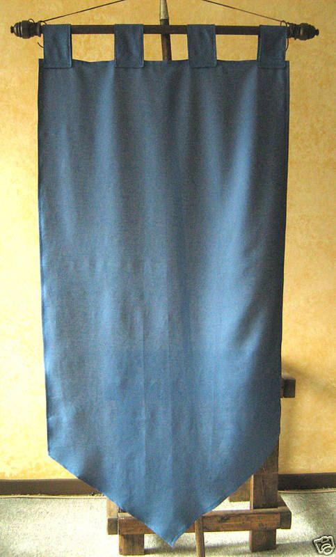 Yes, It fits Well for All Kind of Troops, Guild, Company, Army, or an Errant Knight Costume.  Yes, It is made for Indoors and Outdoors Uses.  Yes, Only the Best Fabrics Available are Used. (No Thin Silky Stuff)  Yes, Each Item is Unique.  Yes, Each Items are made to Look as Real as Possible.  Yes, It is 30x60.  Yes, It is Possible to Do Some Heraldry Design On It. (There is Extra Fees)  Yes, It is Possible to Add a Color Trim All Around the Banner. (There is Extra Fees)    Available in Color…
