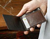 Kangaroo Leather Slim Wallet, Dark Brown, Walnut, Hand Stitched, Billfold Wallet, Leather Wallet