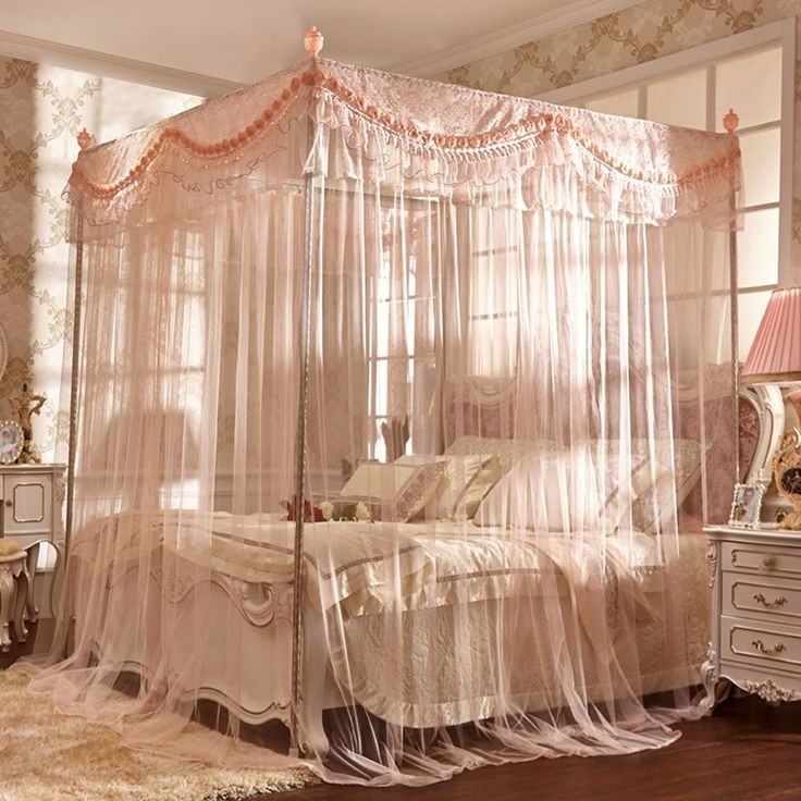 Canopy Bed Design, Queen Size Canopy Beds Fascinating Looked In Thin Net Materials With Soft Pink Theme And Rectangle Shape And Cream Bed Cover: Stunning Queen Size Canopy Beds
