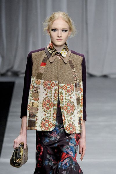 Garment Design Detail - Antonio Marras F/W 12-13 - patchwork colour blocking of vintage fabrics, keeping the shapes very simple
