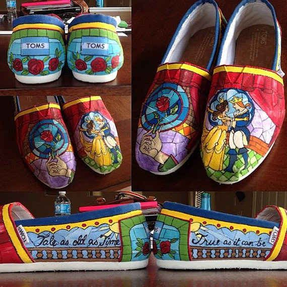 Beauty and The Beast | 25 Beautifully Hand-Painted TOMS For Every Fandom